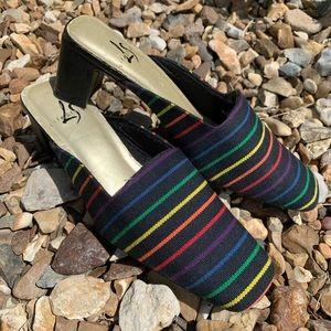Vintage 90s rainbow canvas heel slide LifeStride